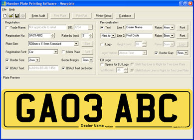 Main screen of number plate printing software